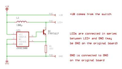 schematic of white LED boost converter